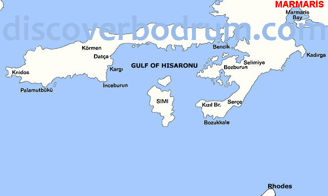 Map of Gulf of Hisaronu, Datca, Marmaris : Turkish Coast
